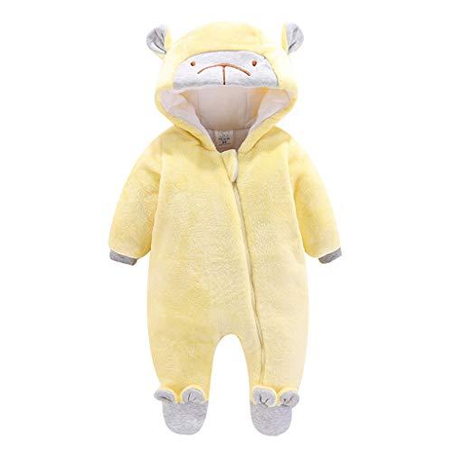 Livoral Baby Winterjacke, Baby, Baby Mädchen, Junge, einfarbig, Bär, Reißverschluss, Overall, Overall, warme Kleidung, Dicke Kleidung(Gelb,3-6 Monate)