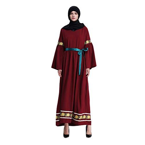 friendGG Kleidung Muslimische Dame GroßE GrößE Stitching Lace Trumpet Sleeve Dress Dame, äRmelnäHte Aus Horn Und SpitzennäHten Kleid KostüM National Wind Robe Kimono Dubai Stickerei Mitte Abendkleid