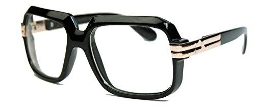 oversized Nerd Brille 70er 80er Jahre Streberbrille Retro Kassengestell schwarz gold MG