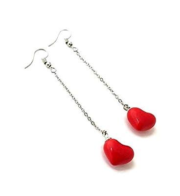 Boucle d'oreille coeur rouge céramique pendante argent chaîne alice au pays des merveilles mignon amour mariage kawaii bijoux femme bohème CHIC