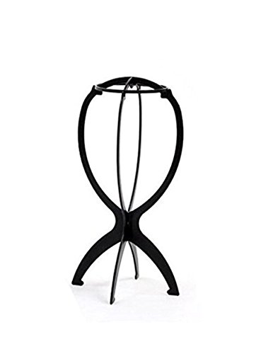 Thinkmax pliable portable pliable support de perruque en plastique durable Perruque Perruque de linge Outil d'affichage Noir
