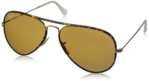 Ray Ban Unisex Sonnenbrille Aviator Classic, Gr. Large (Herstellergröße: 58), Gold (Gestell: grau/gold, Gläser: grün)