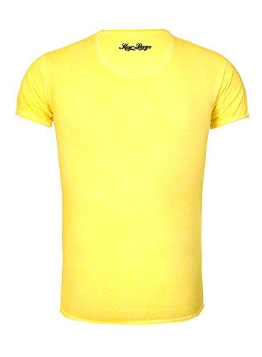 Key Largo Herren T-Shirt REBEL im Vintage Look mit Tiger Print Safari Jungle Dschungel Rebell Gelb