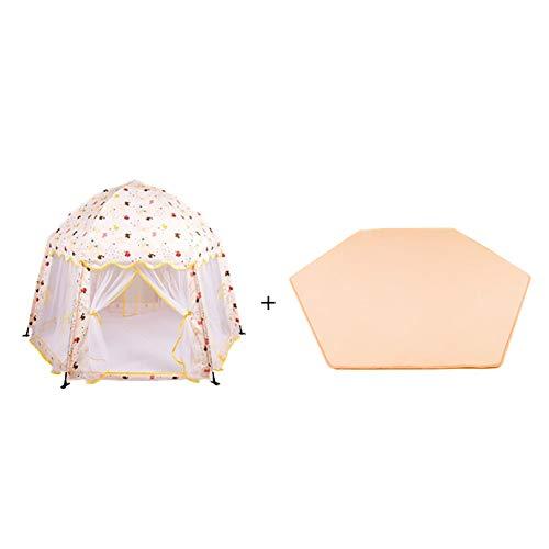 Toddlers Play Tent avec Matelas pour Bébé Diviseur De Chambre Parc pour Enfants Château Enfants Anti-moustiques Mesh Game House Hexagone Toy House (Couleur : Le Jaune)