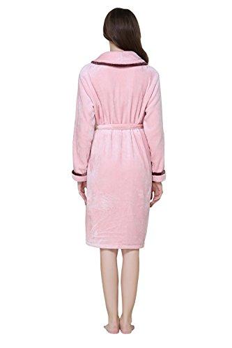 Camicia da notte morbida della cinghia della flanella della signora del vestito dalle signore della camicia da bagno di 100% poliestere Accappatoi per Signora accappatoi Rosa