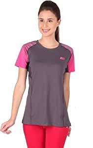 Vector X Sports Dryfit T-Shirt For Women's (VTDF-006B) Grey/Pink (Medium)