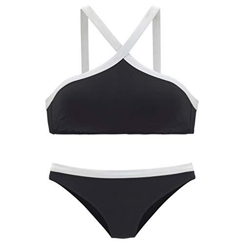 VBWER Damen Retro Stil Geteilter Badeanzug Push up Bikini Set Neckholder Bikini Oberteil Mit High Waist Bikini Bottom Damen Badeanzug Sport Zweiteiliger Badeanzug -