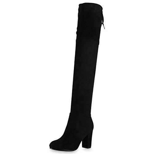 SCARPE VITA Damen Stiefel Overknees 70s Langschaft Boots Blockabsatz 164150 Schwarz 39