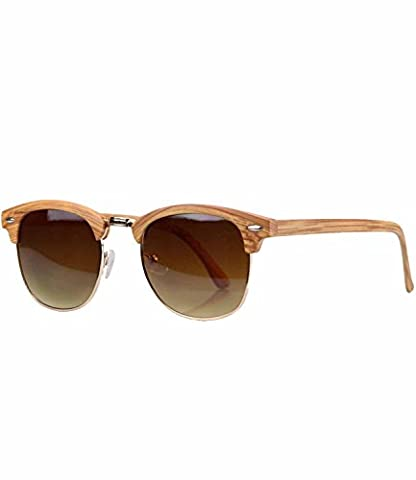caripe Retro Sonnenbrille Clubmaster - clubma (Modell 4 - Holzoptik