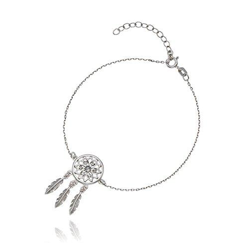 Lilly Marie Mujer Pulsera de plata real plata Swarovski Elements atrapasueños de colgante de longitud ajustable regalo del paquete, regalos en la mejor amiga