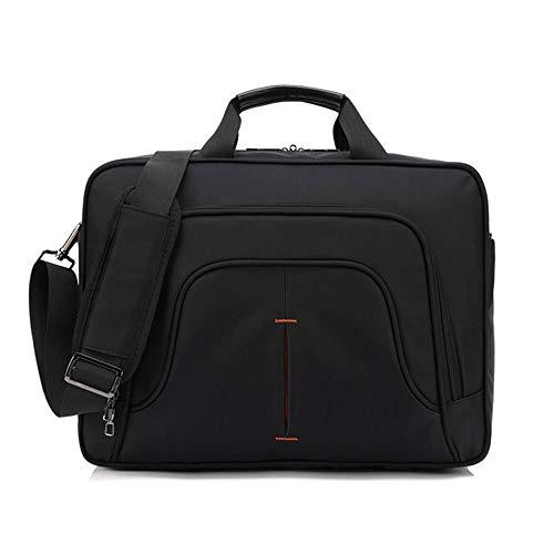 ZYXB Männer Laptop Aktentaschen Tasche Business Hohe Qualität Wasserdicht 15,6 Computer Stoßfest Handtasche Reißverschluss Einfache Umhängetasche,Black -