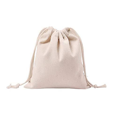 WWricotta Women Solid White Drawstring Beam Port Shopping Bag Travel Bag Gift Bag S(Weiß,S) Drawstring Jersey Sweatshirt