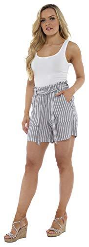 CityComfort Damen Leinenshorts | Frauen Casual Leinen Shorts für Sommer, Urlaub, Strand | Trendy Papiertüte Taille (46, graue Streifen) -