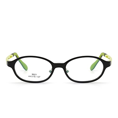 JIM HALO Kinder Brille Optisch TR Rahmen Gläser Mädchen Jungen Nicht-Verschreibung Klar Linse(Glänzend Schwarz/Klar)