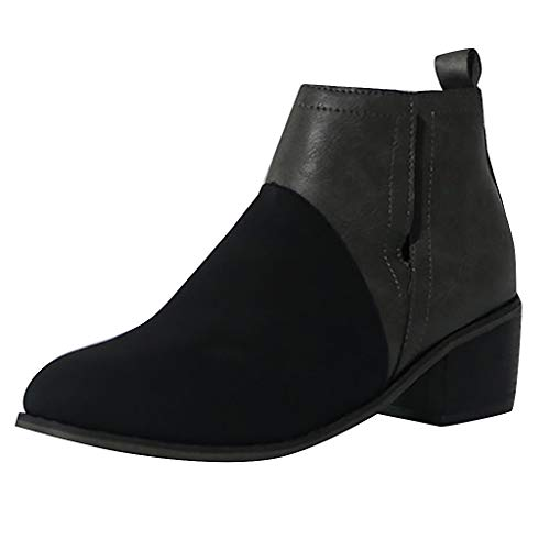 Ears Damen Freizeitstiefel Mode Round Toe Stiefel Joint Thick Square Heel Stiefel Schuhe Plus Größe Stiefeletten Freizeit Wedge Heels Freizeit High Heels Plus Größe Sportschuhe Leder Boots