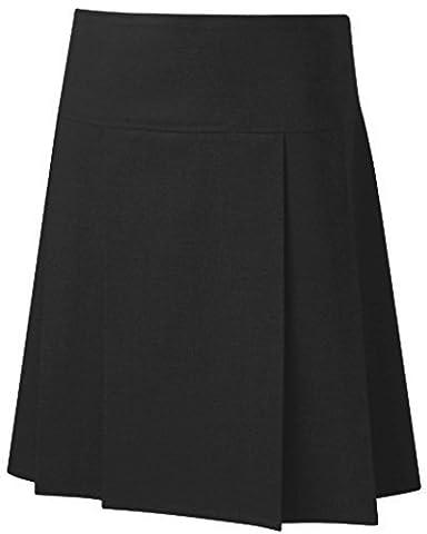 School Uniform Senior Drop Waist Pleated Skirt Black 28