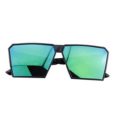 Timlatte Große Rahmen Retro-Sonnenbrille Retro-Platz Brillen Männer Jungen Frauen Mädchen Brillen Street UV400 Helles schwarzes Grün one Size