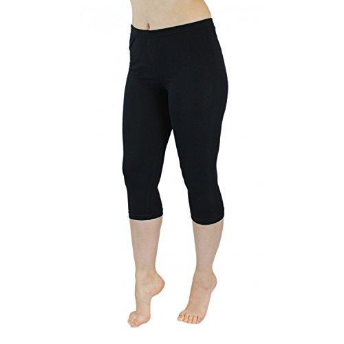 Blickdichte Leggings für Damen Capri Hose Leggins Bunt aus Baumwolle 3/4 Länge, Farbe: Schwarz, Größe: 36-38