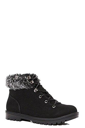 Schwarz Damen Maisie Fur Ankle Hiker Stiefel Schwarz