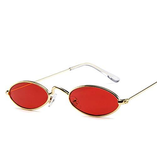 Yiph-Sunglass Sonnenbrillen Mode Retro-Look-Qualität Sonnenbrillen Unisex Punk-Stil Ovale Sonnenbrille Kleine Metallrahmen Runde Sonnenbrille Kleine Sonnenbrille (Farbe : Red)