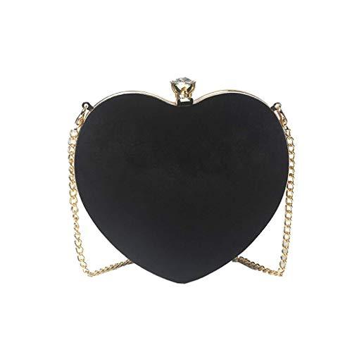 Cooralledtooere borsa diagonale a forma di cuore, design semplice a forma di cuore, elegante decorazione con strass, pochette da ballo da donna, per cellulare o cocktail party o occasione formale (16