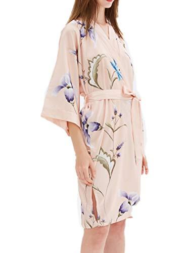 prettystern Damen Kurz Knie-lang glänzend Satin Kimono Morgenmantel Robe Beige Floral - Florale Geisha Kostüm