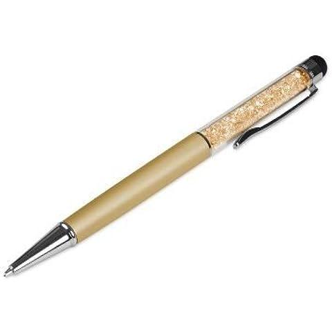 Calidad bolígrafo y lápiz óptico 2en 1, diseño con cristales de Swarovski Dos recargas de tinta gratis., color dorado