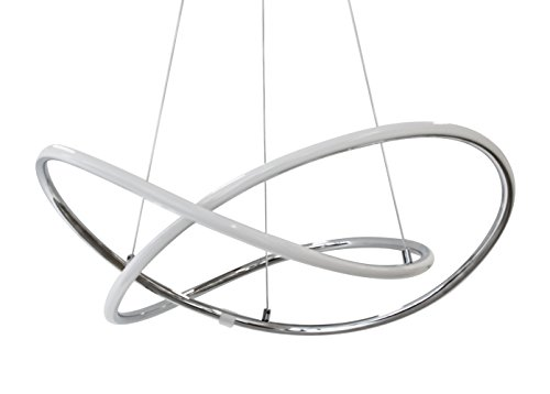 "LEDU LED-Lampe\""Signa\"" - Typ: Edle Pendelleuchte, Pendellampe (Deckenleuchte, Deckenlampe) verchromt - warmes Licht (Warmweiß 3000K), 31W, Modernes Design"
