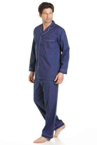 Haigman Mens Nightwear Long Sleeve Pyjama Suit With Trousers, Navy Extra Large