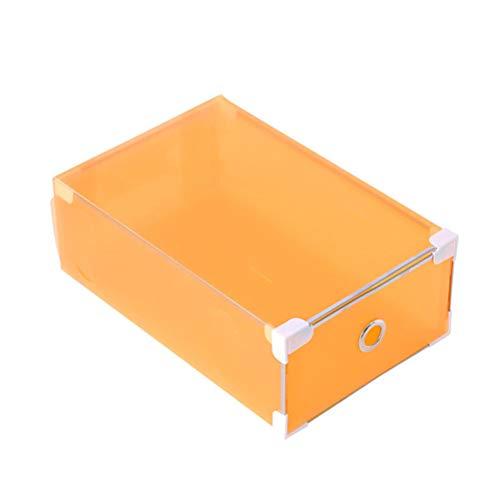 Yardwe 5 stücke Schuhe Box lagerung stapelbar Faltbare Hause schuhbehälter transparent büro Organizer für männer Frauen (Orange) (Sneaker Box-speicher)