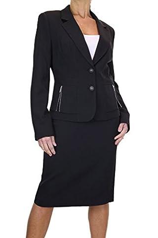 ICE Womens Skirt Suit Business Office Tailored Blazer Jacket Black