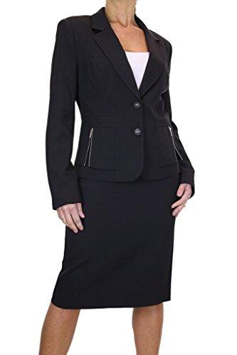 ICE Damen Rock Anzug mit Jacke Schwarz (50) (Rock Anzug Damen Neue)