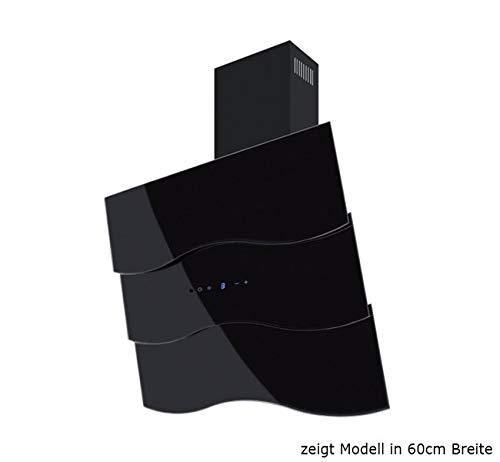 Dunstabzugshaube Wandhaube F.BAYER WAVE 80S 80cm Schwarz Schwarzglas Dunstabzug 850m³/h EEK A LED