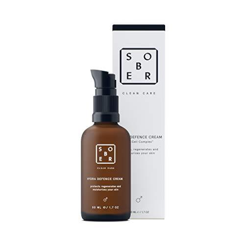 sober® | Hydra Defence Cream | Gesichtscreme für Männer | vitalisierende Feuchtigkeitscreme Herren | Mit Hyaluron, Vitamin C und Aminosäuren | Anti Falten Gesichtspflege für sensible Haut ohne Parfum