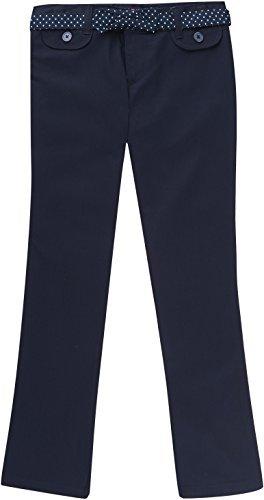 French Toast School Uniform Girls Twill Straight Leg Belted Pants, Navy, 16
