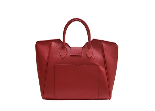 JustGlam - Borsa a mano da donna modello birkin c/tracolla new collection autunno/inverno in vera pelle made in italy art br03 rosso
