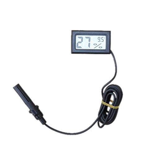 STRIR LCD Digital sonda termómetro higrómetro integrados para reptil Negro