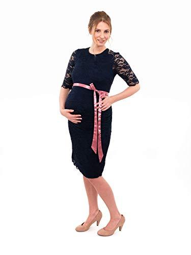 Herzmutter Umstands-Spitzen-Kleid, Elegantes-Knielanges Schwangerschafts-Kleid für Festliche Anlässe, mit Spitze aus Baumwoll-Mix, Creme-Weiß-Dunkelblau (6200) (Dunkelblau) - 8