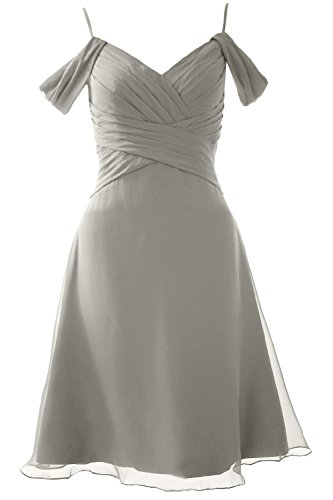 MACloth Elegant Off the Shoulder Short Bridesmaid Dress Wedding Party Formal Gown Silber