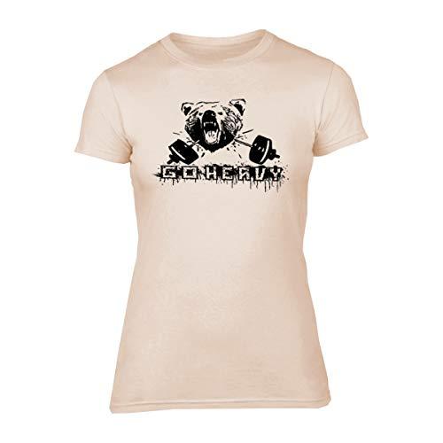 GO HEAVY Damen Sport Motiv T-Shirt | Gym Kurzarm Slim Fit Fitness Trainingsshirt | Bear & Barbell | Beige M
