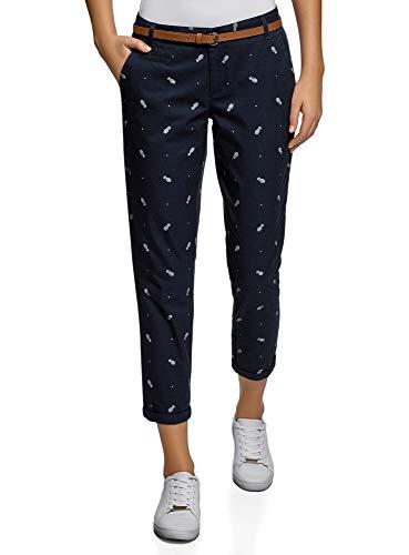 oodji Ultra Mujer Pantalones Chinos con Cinturón, Azul, ES 44 / XL