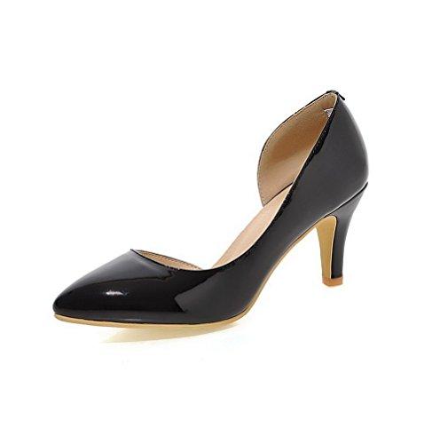 VogueZone009 Femme Tire Pointu à Talon Haut Pu Cuir Couleur Unie Chaussures Légeres Noir