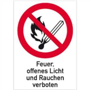 Aufkleber Feuer, offenes Licht und Rauchen verboten 18,5 x 13,1cm Folie