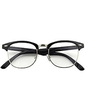 CGID 50er Jahre Retro Nerd Brille Halbrahmen Hornbrille Clubmaster Stil Rockabilly Streberbrille