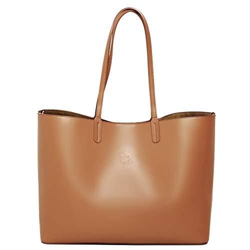 Rosa Lou Firenze Damen Tasche - Leder Shopping Bag - Groß Tote Schulter Tasche - Made in Italy - Perfekt citytasche für Wochenende, Reisen, Arbeit, Business und Schule (Kamel Braun)