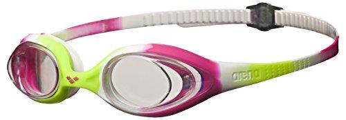 arena Kinder Unisex Training Wettkampf Schwimmbrille Spider Junior (UV-Schutz, Anti-Fog, Harte Gläser), mehrfarbig (Lime Fuchsia-White-Clear), One Size