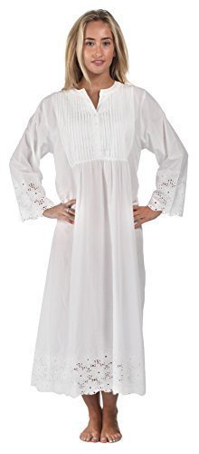the-1-for-u-100-cotton-long-sleeve-vintage-design-nightgown-connie-white-x-large