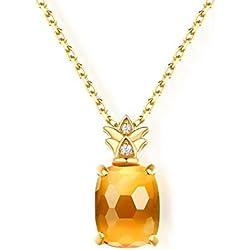 MYJ Joyería Ligera/Dulce / Animado/Colgante de piña/Casual / Salvaje/Hermoso / Colgante de Cristal/Collar de Mujer,Amarillo