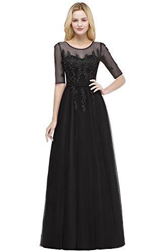 Damen Elegant Kurzarm Tüll Hochzeitskleid Brautkleid mit Applikation lang Schwarz 44