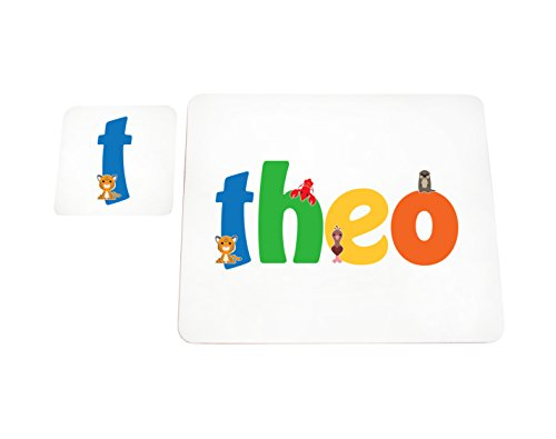 Little Helper Theo de Coast erandpl acemat de 15de personnalisée, fille nom et dessous de 4 sets de table avec finition brillant, Theo